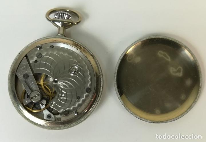 Relojes de bolsillo: RELOJ DE BOLSILLO. CAJA DE METAL NIQUELADO Y TAPA DECORADA. NEUCHATEL WATCH. SIGLO XX. SUIZA - Foto 4 - 169876884