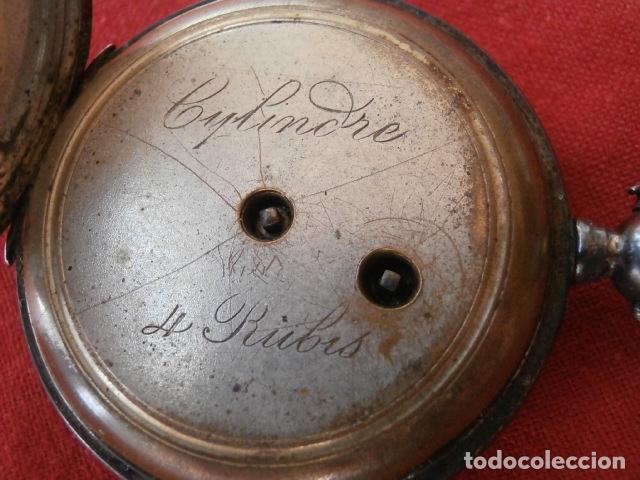 Relojes de bolsillo: Antiguo reloj suizo de bolsillo a cuerda manual en plata falta llave año 1850 1890 y no funciona - Foto 4 - 170013452