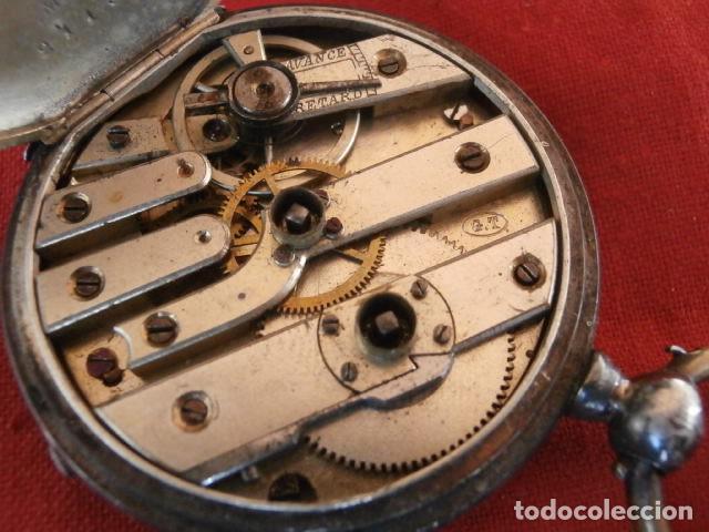 Relojes de bolsillo: Antiguo reloj suizo de bolsillo a cuerda manual en plata falta llave año 1850 1890 y no funciona - Foto 8 - 170013452
