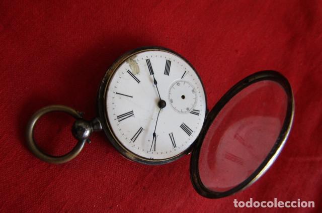 Relojes de bolsillo: Antiguo reloj suizo de bolsillo a cuerda manual en plata falta llave año 1850 1890 y no funciona - Foto 10 - 170013452