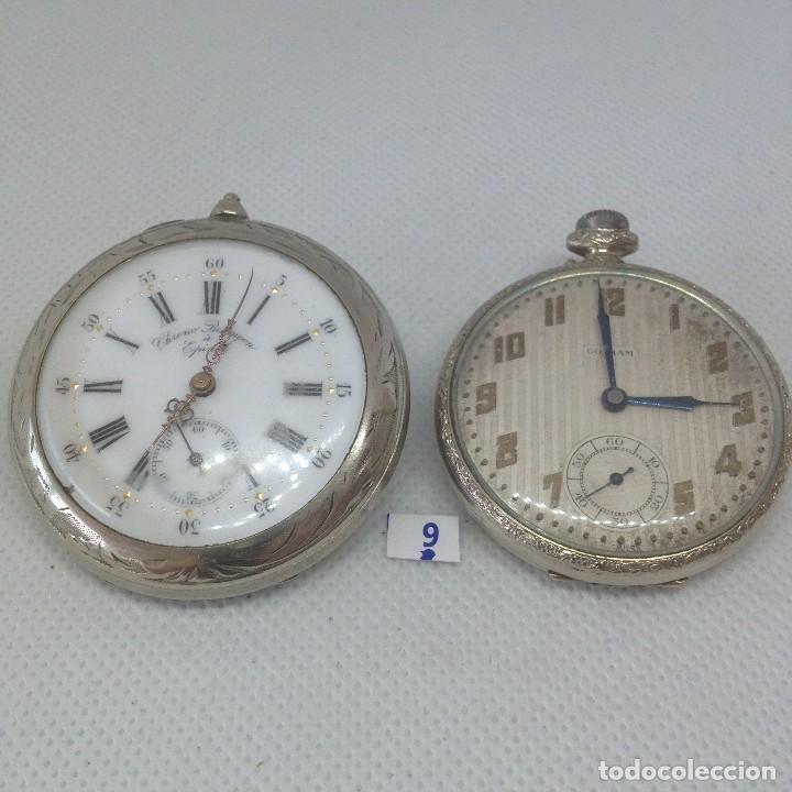 LOTE - 9 .- 2 RELOJES DE BOLSILLO ANTIGUOS (Relojes - Bolsillo Carga Manual)