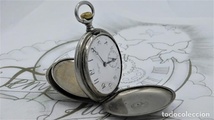 LONGINES-RELOJ DE BOLSILLO-CIRCA 1908-15 RUBÍES-3 TAPAS-FUNCIONANDO (Relojes - Bolsillo Carga Manual)