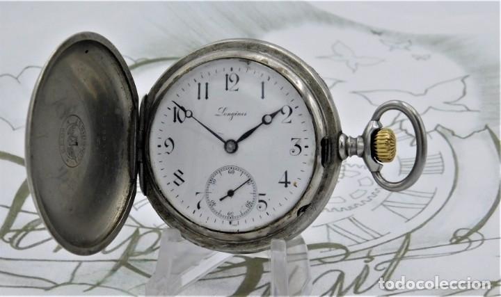 Relojes de bolsillo: LONGINES-RELOJ DE BOLSILLO-CIRCA 1908-15 RUBÍES-3 TAPAS-FUNCIONANDO - Foto 17 - 168305864