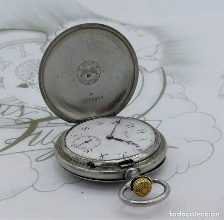Relojes de bolsillo: LONGINES-RELOJ DE BOLSILLO-CIRCA 1908-15 RUBÍES-3 TAPAS-FUNCIONANDO - Foto 14 - 168305864