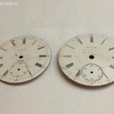 Relojes de bolsillo: 2 ESFERAS RELOJ DE BOLSILLO ELGIN EN PORCELANA 43 Y 45 MM. Lote 170886595
