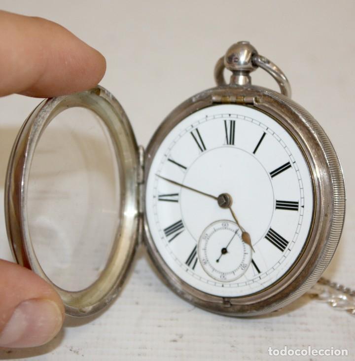 Relojes de bolsillo: RELOJ CATALINA INGLES DE PLATA - 1853. CON CADENA DE PLATA. FUNCIONANDO. - Foto 3 - 171169283
