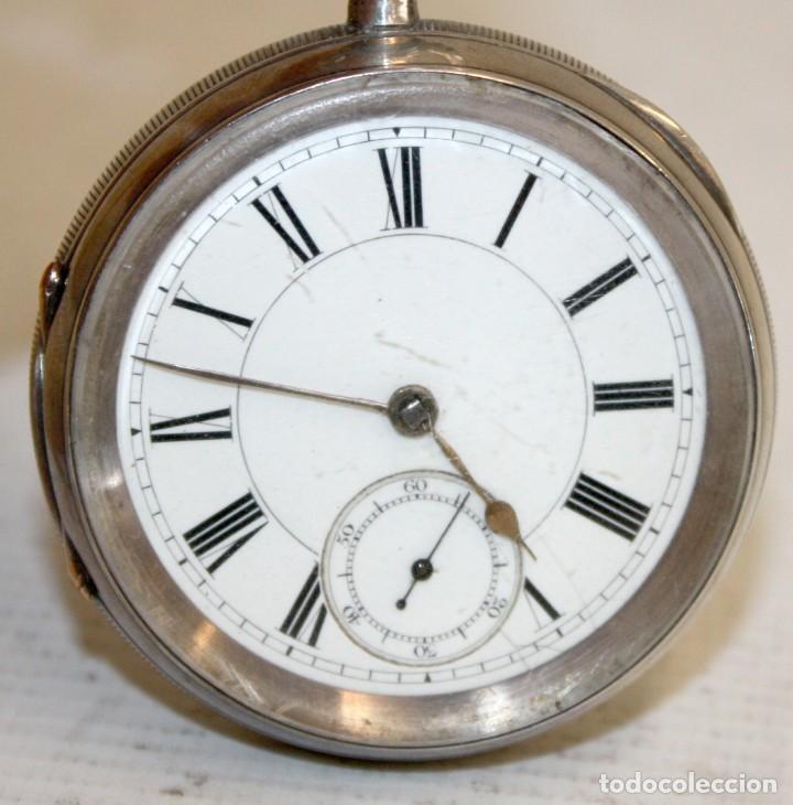 RELOJ CATALINA INGLES DE PLATA - 1853. CON CADENA DE PLATA. FUNCIONANDO. (Relojes - Bolsillo Carga Manual)