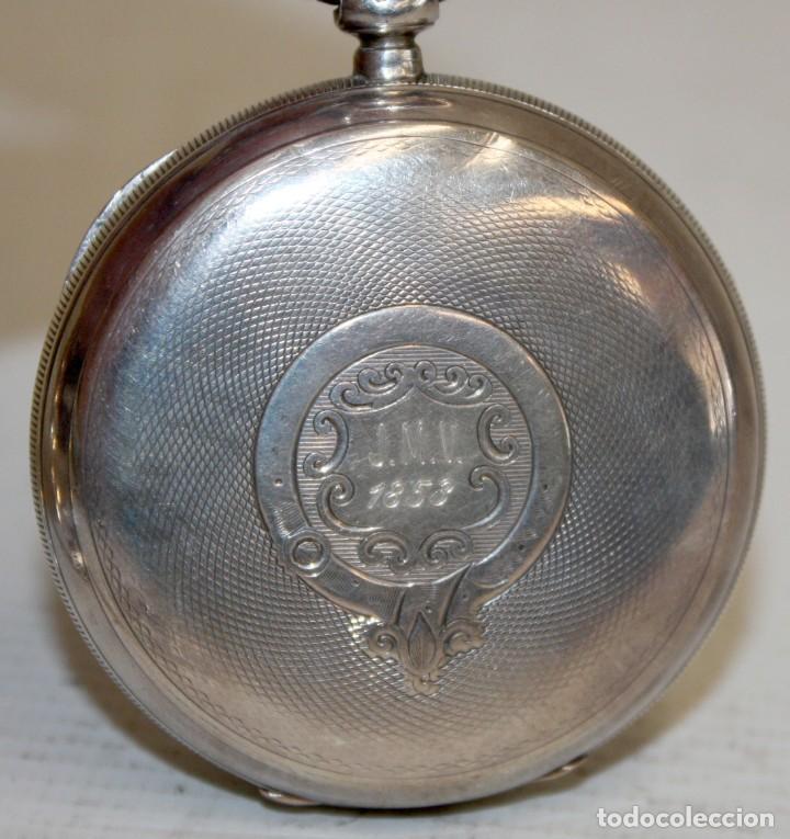 Relojes de bolsillo: RELOJ CATALINA INGLES DE PLATA - 1853. CON CADENA DE PLATA. FUNCIONANDO. - Foto 4 - 171169283