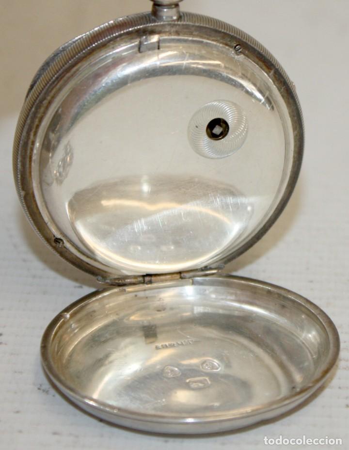 Relojes de bolsillo: RELOJ CATALINA INGLES DE PLATA - 1853. CON CADENA DE PLATA. FUNCIONANDO. - Foto 2 - 171169283