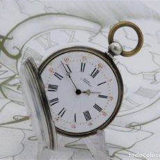 Relojes de bolsillo: RELOJ DE BOLSILLO-DE PLATA-3ER.CUARTO DEL SIGLO XIX-3 TAPAS-FUNCIONANDO. Lote 171364887