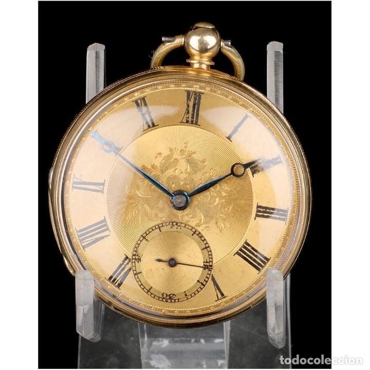 ANTIGUO RELOJ DE BOLSILLO SEMI CATALINO JOHN B. CROSS, ORO 18K. LONDRES 1853 (Relojes - Bolsillo Carga Manual)