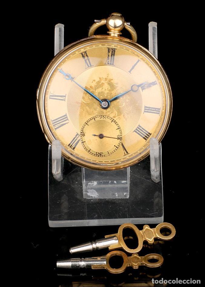 Relojes de bolsillo: Antiguo Reloj de Bolsillo Semi Catalino John B. Cross, Oro 18K. Londres 1853 - Foto 2 - 171496489