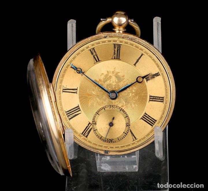 Relojes de bolsillo: Antiguo Reloj de Bolsillo Semi Catalino John B. Cross, Oro 18K. Londres 1853 - Foto 3 - 171496489