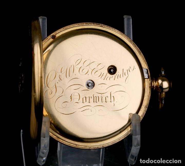 Relojes de bolsillo: Antiguo Reloj de Bolsillo Semi Catalino John B. Cross, Oro 18K. Londres 1853 - Foto 6 - 171496489