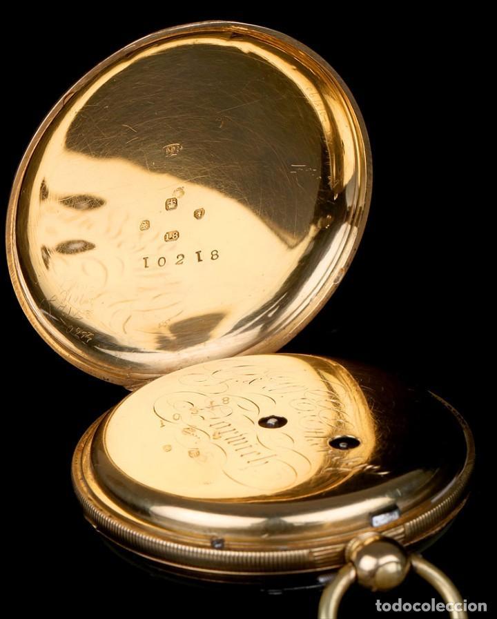 Relojes de bolsillo: Antiguo Reloj de Bolsillo Semi Catalino John B. Cross, Oro 18K. Londres 1853 - Foto 7 - 171496489