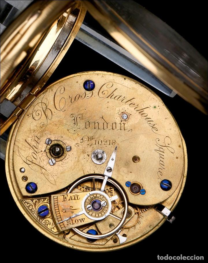 Relojes de bolsillo: Antiguo Reloj de Bolsillo Semi Catalino John B. Cross, Oro 18K. Londres 1853 - Foto 12 - 171496489