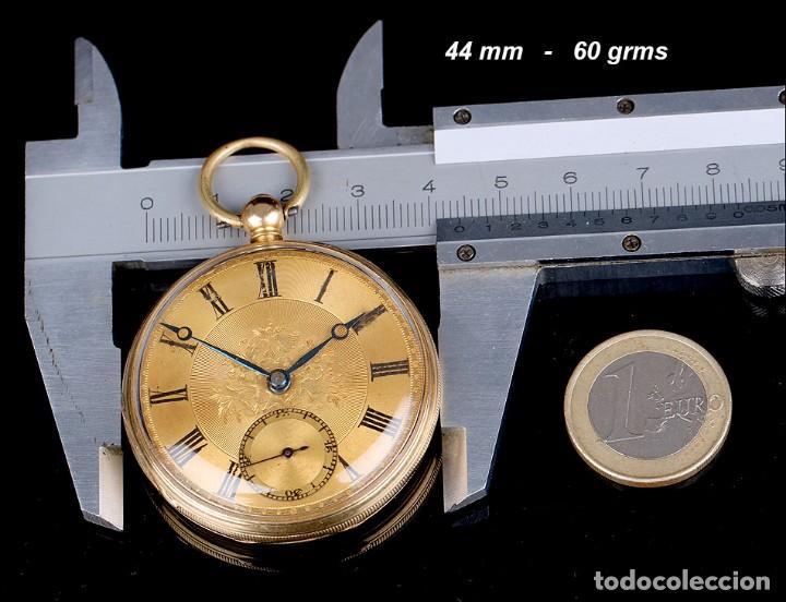 Relojes de bolsillo: Antiguo Reloj de Bolsillo Semi Catalino John B. Cross, Oro 18K. Londres 1853 - Foto 13 - 171496489