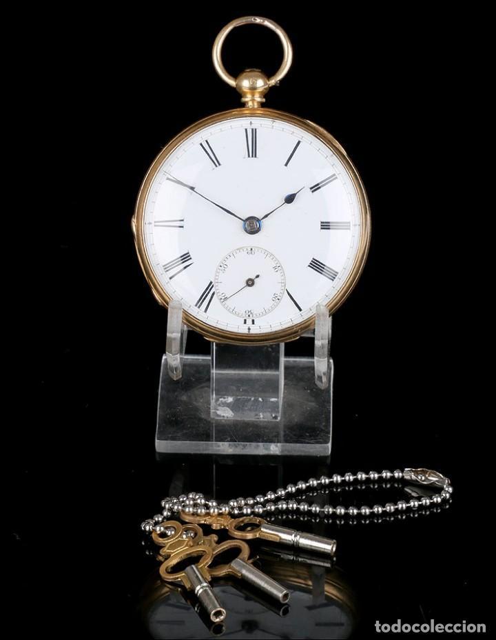 Relojes de bolsillo: Antiguo reloj de bolsillo escocés en oro de 18K por Daniel Buchanan. Glasgow 1858 - Foto 2 - 171496677