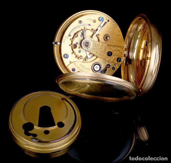 Relojes de bolsillo: Antiguo reloj de bolsillo escocés en oro de 18K por Daniel Buchanan. Glasgow 1858 - Foto 11 - 171496677