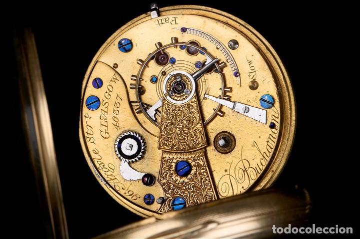 Relojes de bolsillo: Antiguo reloj de bolsillo escocés en oro de 18K por Daniel Buchanan. Glasgow 1858 - Foto 12 - 171496677