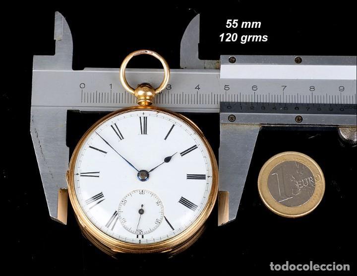 Relojes de bolsillo: Antiguo reloj de bolsillo escocés en oro de 18K por Daniel Buchanan. Glasgow 1858 - Foto 13 - 171496677