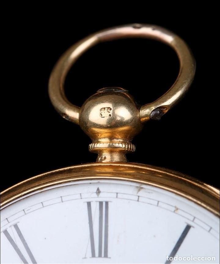 Relojes de bolsillo: Antiguo reloj de bolsillo escocés en oro de 18K por Daniel Buchanan. Glasgow 1858 - Foto 14 - 171496677