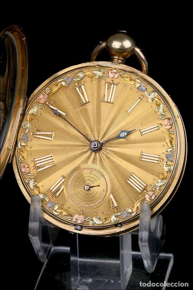 Relojes de bolsillo: Antiguo Reloj de Bolsillo en Oro de 18K. Henry Sharples. Inglaterra, 1833 - Foto 4 - 171497823