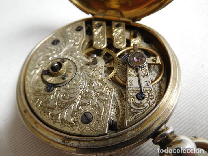 RELOJ DE BOLSILLO DE PLATA L´EPLATTENIER LONDONE MÁQUINA CINCELADA 1880 APROX. (Relojes - Bolsillo Carga Manual)