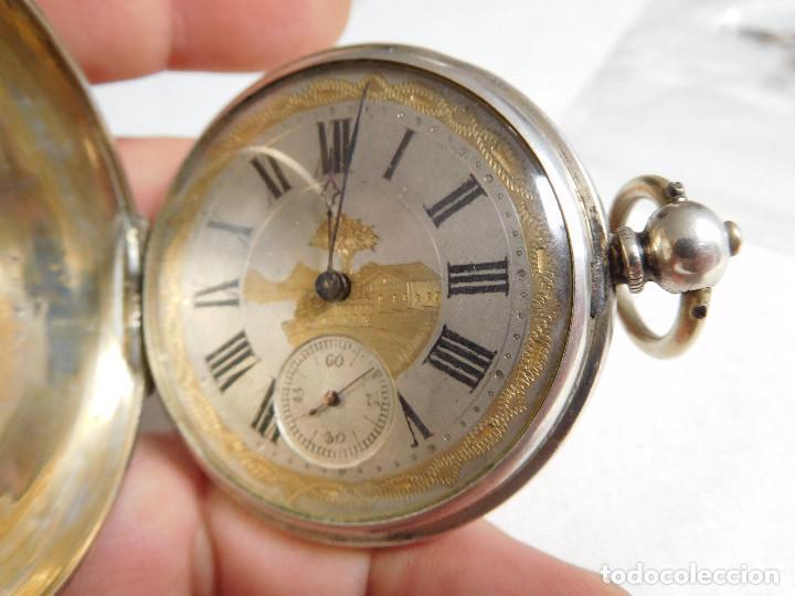 Relojes de bolsillo: Reloj de bolsillo de plata L´eplattenier Londone máquina cincelada 1880 aprox. - Foto 12 - 171987047