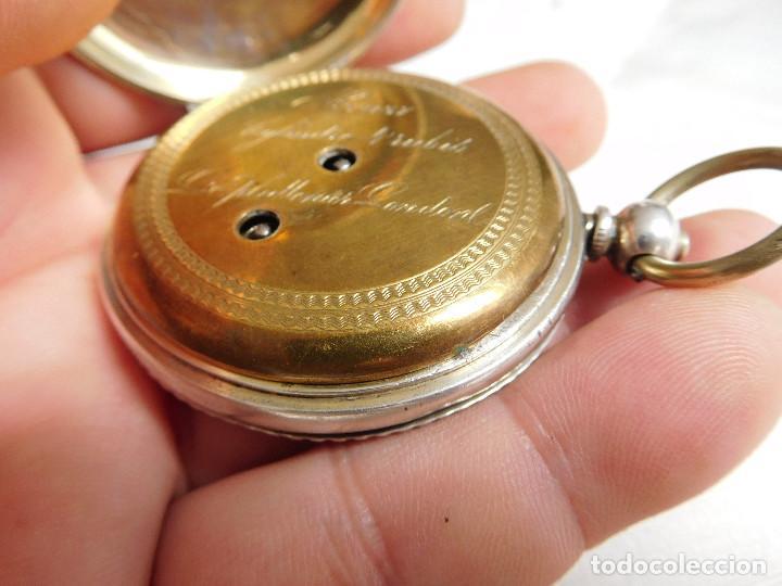 Relojes de bolsillo: Reloj de bolsillo de plata L´eplattenier Londone máquina cincelada 1880 aprox. - Foto 17 - 171987047