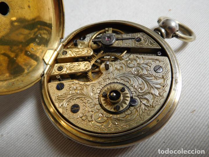 Relojes de bolsillo: Reloj de bolsillo de plata L´eplattenier Londone máquina cincelada 1880 aprox. - Foto 19 - 171987047