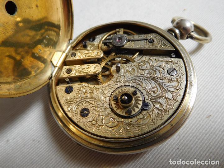 Relojes de bolsillo: Reloj de bolsillo de plata L´eplattenier Londone máquina cincelada 1880 aprox. - Foto 20 - 171987047