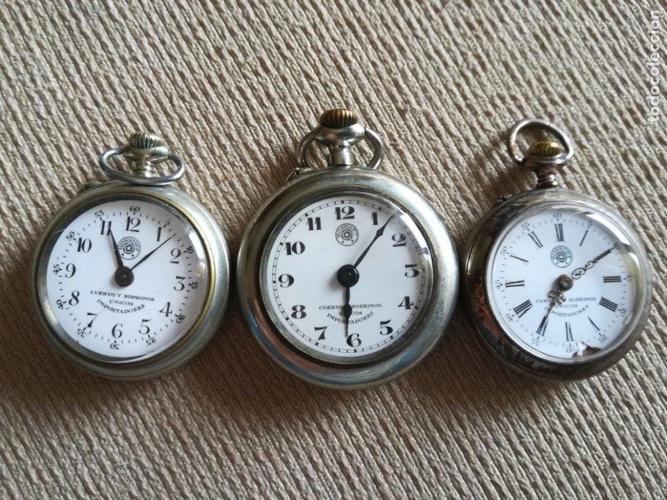 LOTE 3 CUERVO Y SOBRINOS (Relojes - Bolsillo Carga Manual)