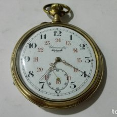 Relojes de bolsillo: RELOJ DE BOLSILLO CHRONOMETRE DELOUCHE, PARIS, PLAQUE ORO, FUNCIONA, MEDIDA 5 CM. Lote 172433535