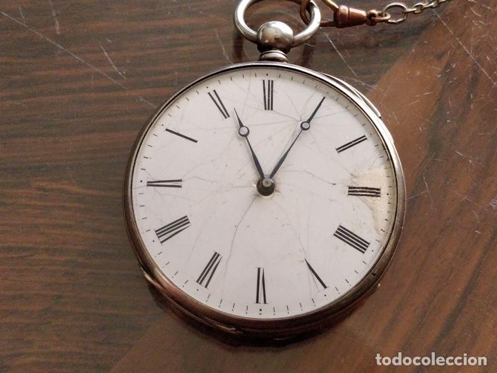 ANTIGUO RELOJ DE PLATA CON SONERÍA Y CURIOSO DIÁMETRO DE LA CAJA - FUNCIONANDO PERO NO LA SONERÍA (Relojes - Bolsillo Carga Manual)