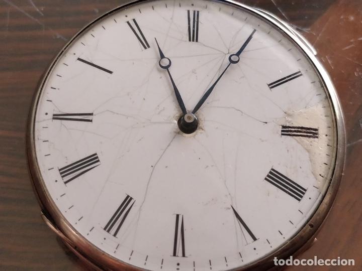 Relojes de bolsillo: Antiguo reloj de plata con sonería y curioso diámetro de la caja - Funcionando pero no la sonería - Foto 2 - 172468948