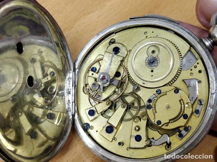 Relojes de bolsillo: Antiguo reloj de plata con sonería y curioso diámetro de la caja - Funcionando pero no la sonería - Foto 3 - 172468948