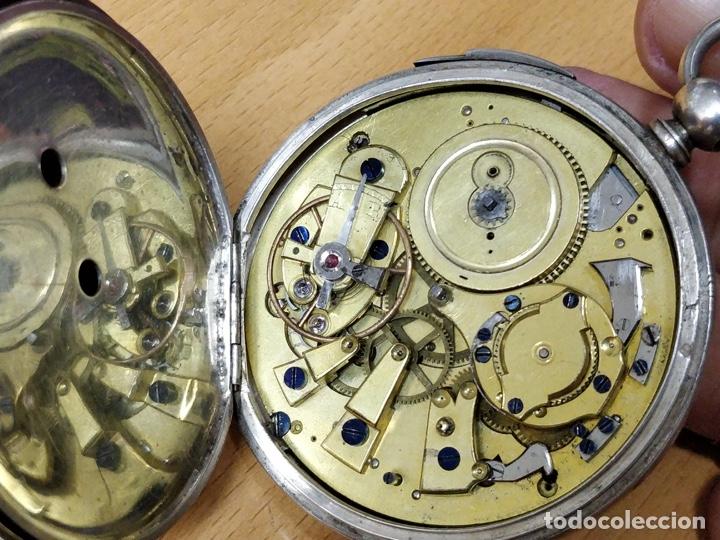Relojes de bolsillo: Antiguo reloj de plata con sonería y curioso diámetro de la caja - Funcionando pero no la sonería - Foto 4 - 172468948