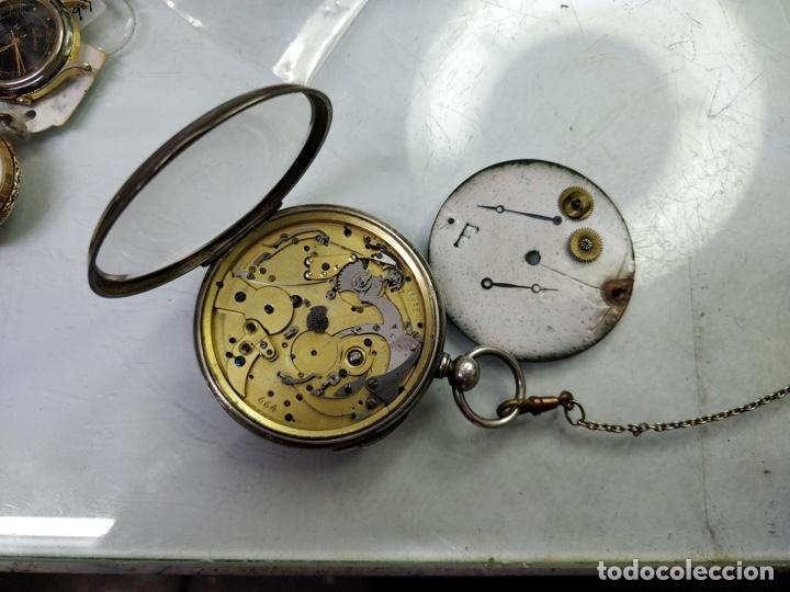 Relojes de bolsillo: Antiguo reloj de plata con sonería y curioso diámetro de la caja - Funcionando pero no la sonería - Foto 8 - 172468948