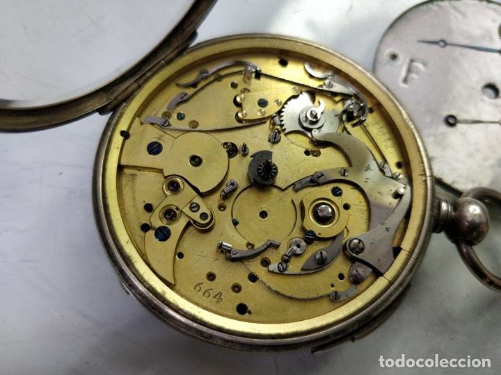 Relojes de bolsillo: Antiguo reloj de plata con sonería y curioso diámetro de la caja - Funcionando pero no la sonería - Foto 9 - 172468948