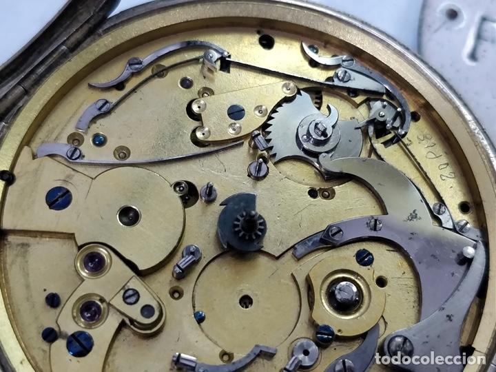Relojes de bolsillo: Antiguo reloj de plata con sonería y curioso diámetro de la caja - Funcionando pero no la sonería - Foto 11 - 172468948