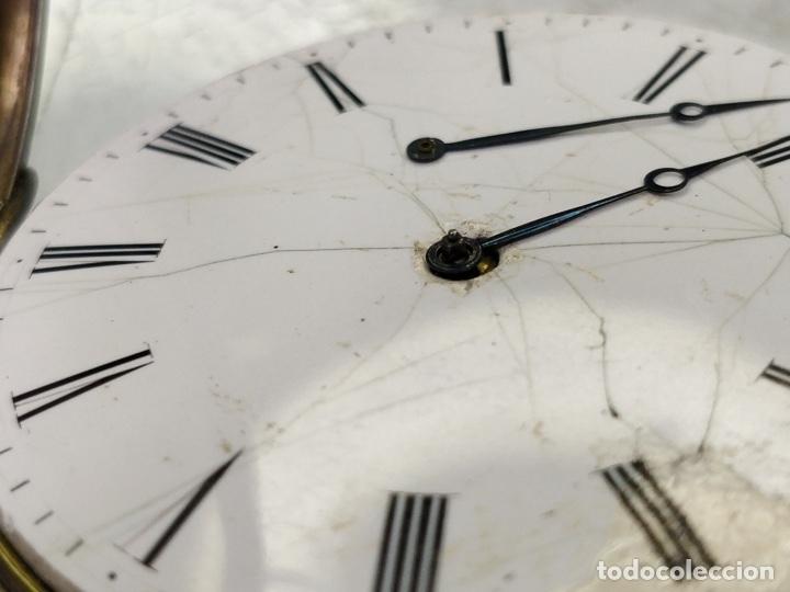 Relojes de bolsillo: Antiguo reloj de plata con sonería y curioso diámetro de la caja - Funcionando pero no la sonería - Foto 16 - 172468948