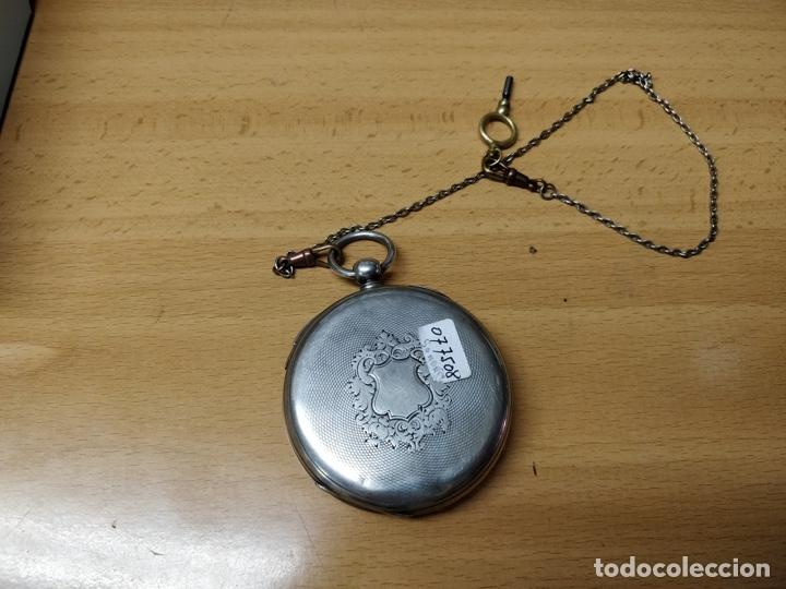 Relojes de bolsillo: Antiguo reloj de plata con sonería y curioso diámetro de la caja - Funcionando pero no la sonería - Foto 19 - 172468948