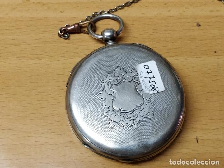 Relojes de bolsillo: Antiguo reloj de plata con sonería y curioso diámetro de la caja - Funcionando pero no la sonería - Foto 20 - 172468948
