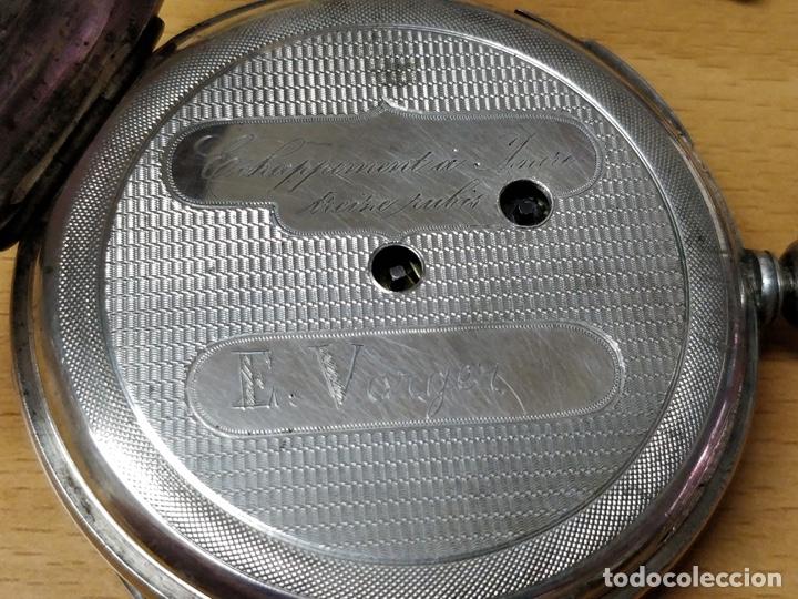 Relojes de bolsillo: Antiguo reloj de plata con sonería y curioso diámetro de la caja - Funcionando pero no la sonería - Foto 21 - 172468948