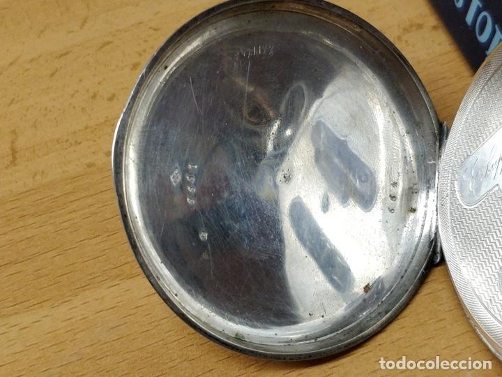Relojes de bolsillo: Antiguo reloj de plata con sonería y curioso diámetro de la caja - Funcionando pero no la sonería - Foto 23 - 172468948