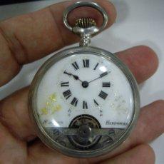Relojes de bolsillo: HEBDOMAS - 8 DIAS CUERDA - PLATA - GOLPECITOS EN CANTO - FUNCIONANDO. Lote 172622335