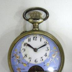 Relojes de bolsillo: HEBDOMAS - 8 DIAS CUERDA - ESFERA AZUL - FUNCIONANDO. Lote 172622433