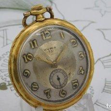 Relojes de bolsillo: CYMA-RELOJ DE BOLSILLO-DE ORO 18K-750-CIRCA 1940-2 TAPAS-FUNCIONANDO. Lote 172847274