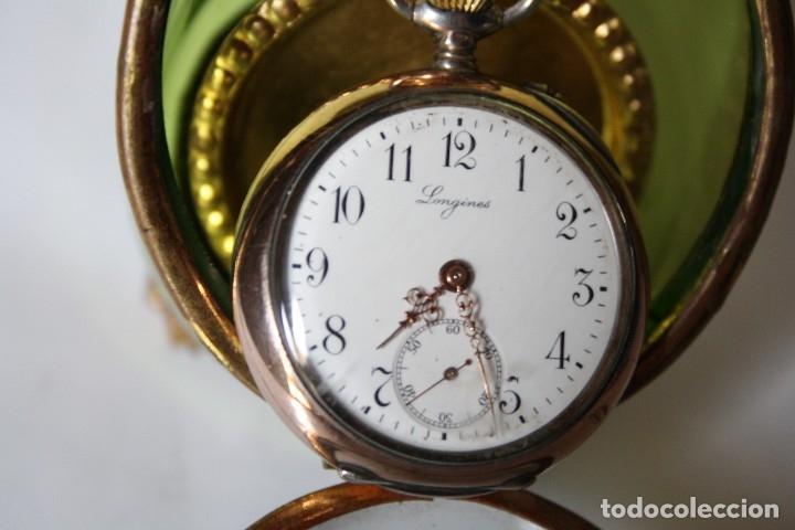 Relojes de bolsillo: RELOJ DE MONJA DE PLATA ,FUNCIONA LONGINES CON SU JOYERO DE CRISTAL BISELADO - Foto 2 - 173386878